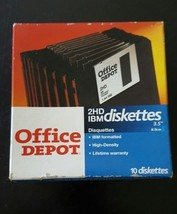 NEW Vintage Office Depot Box of 10 2 HD IBM 3.5... - $13.85
