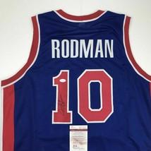 Autographed/Signed DENNIS RODMAN Detroit Blue Basketball Jersey JSA COA ... - $94.99
