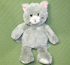 "16"" BUILD A BEAR GREY CAT STUFFED ANIMAL PLUSH KITTEN PINK EARS NOSE SOF... - $19.80"