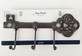 """Iron Finish Key Shaped 3 Hook 9.5"""" Wall Rack Antique Style New - $18.33"""
