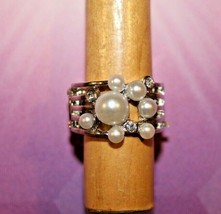 White Pearl & Clear Rhinestones - Silver Stretch Ring - Paparazzi Jewelry - Gift - $7.82