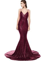 Women's Long Sequins Mermaid Backless V-Neck Evening Dress Formal Prom Gown 2018 - $108.99