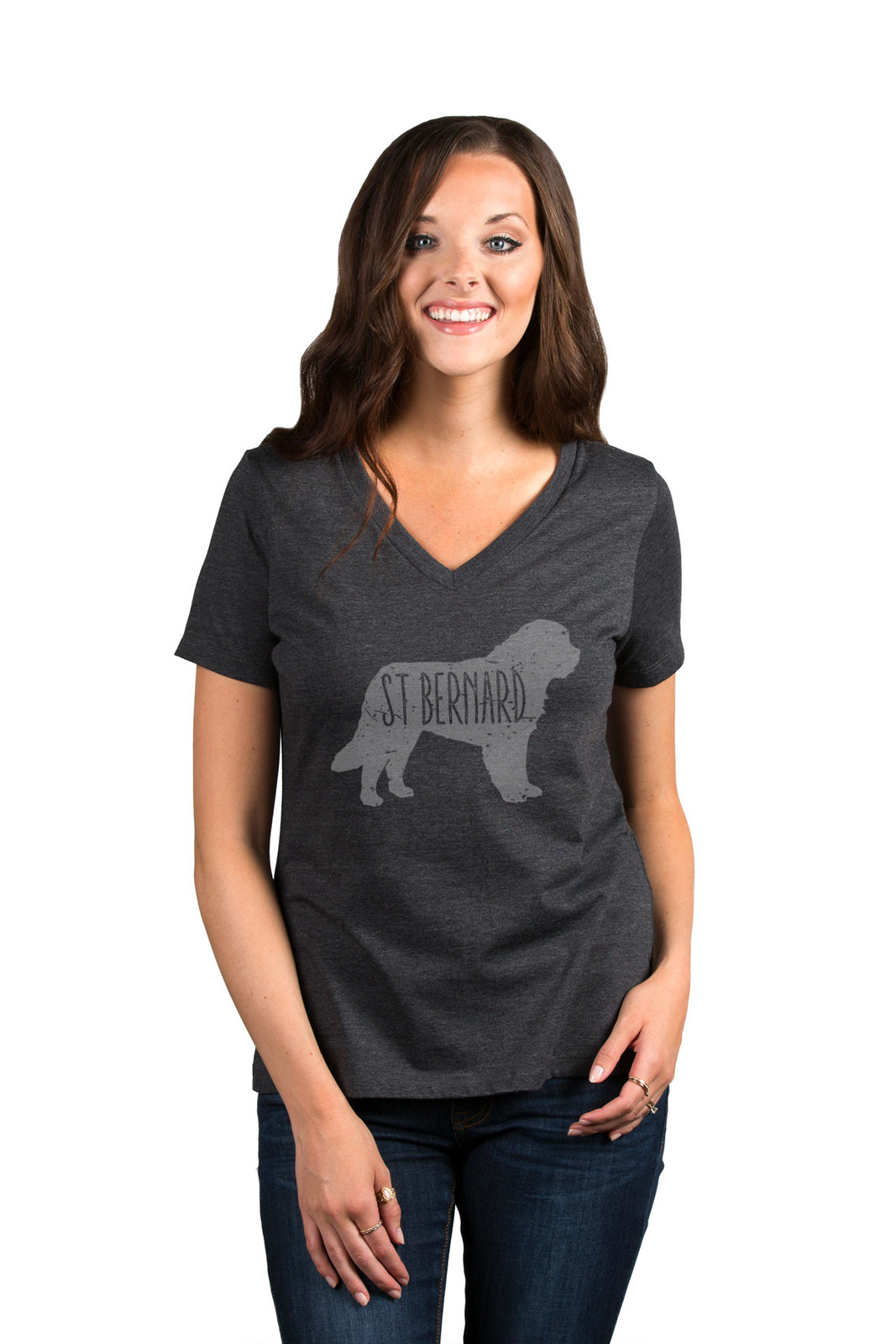 Thread Tank St Bernard Dog Silhouette Women's Relaxed V-Neck T-Shirt Tee Charcoa