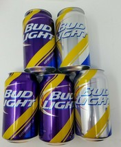 Set of 5 Bud Light Mardi Gras Cans Without Lids from Production Line Blu... - $19.79