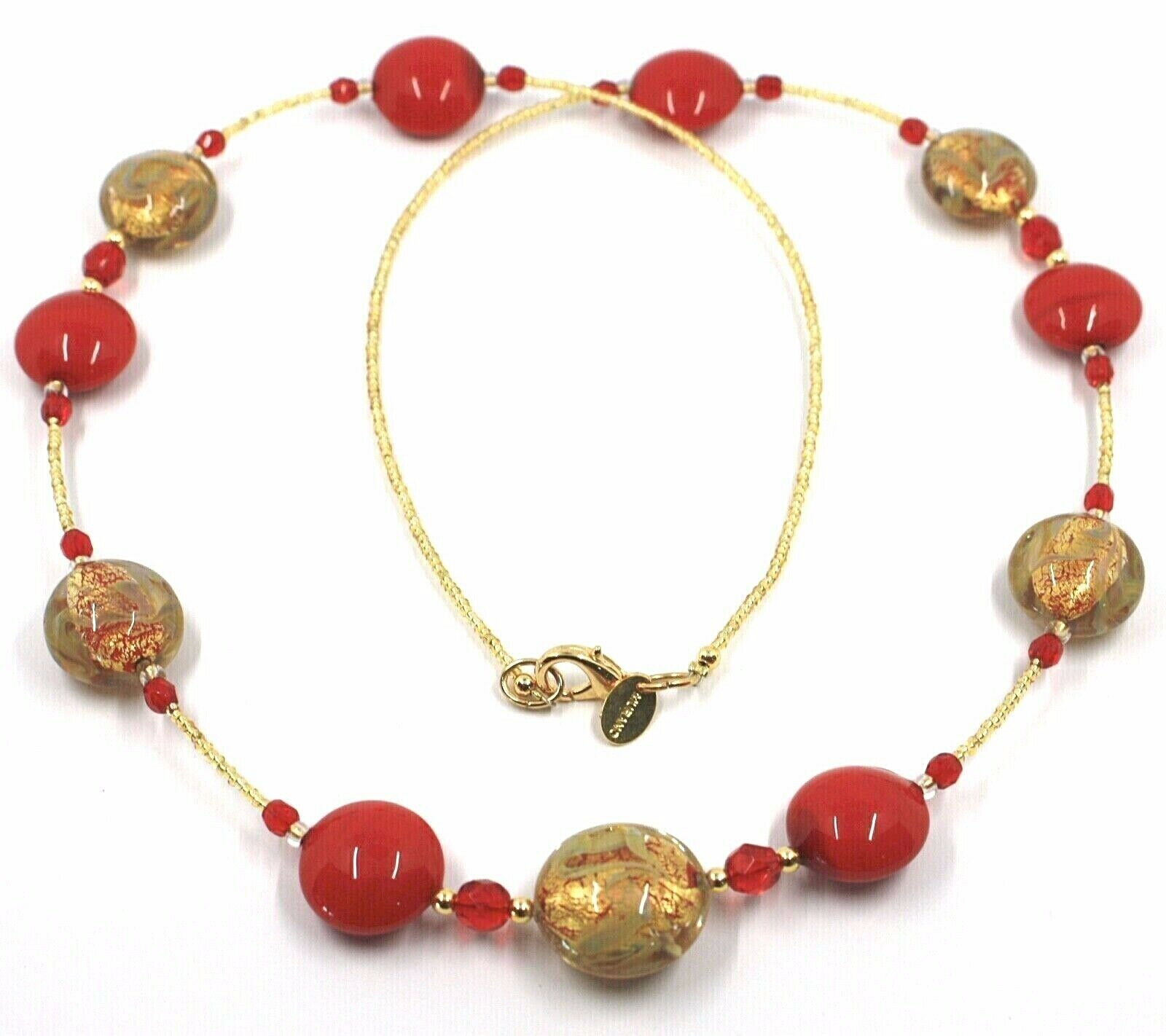 """LONG NECKLACE RED YELLOW MURANO GLASS DISC GOLD LEAF, 70cm, 27.5"""" ITALY MADE"""