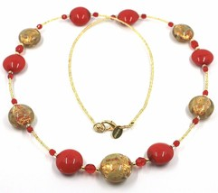 """LONG NECKLACE RED YELLOW MURANO GLASS DISC GOLD LEAF, 70cm, 27.5"""" ITALY MADE image 1"""