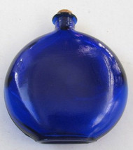 Cobalt Blue Oval Shaped Glass Bottle with Cork Stopper Italy - $23.00
