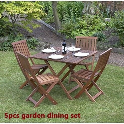 Wood Garden Dine Set Foldable Patio BackYard Durable Furniture Table 4 Chair New image 4