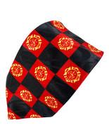 Steven Harris Fire Dept Emblems Collage Red Black Polyester Tie Necktie - $16.82