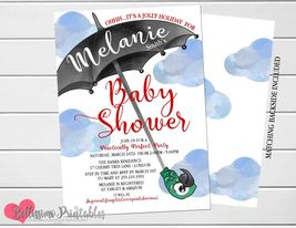 Mary Poppins Baby Shower Invitation, Umbrella Baby Shower invitation - $9.99+