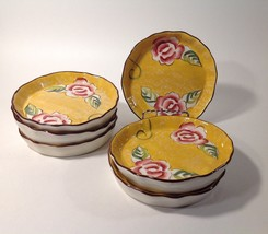 6 Individual Quiche Creme Brûlée Dishes Hand Painted Flowers Nueva for S... - $25.65