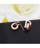 Double Loop Design Stud Earrings Ear Stud Square CZ Letter D Jewelry Nev... - $16.80