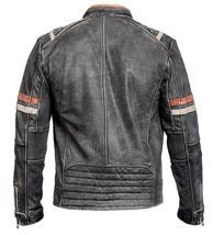 Mens Distressed Black Retro 2 Vintage Cafe Racer Motorcycle Leather Jacket image 2
