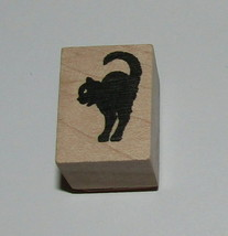 Black Cat Stamp New Halloween Back Arched Hero Arts Wood Mounted 1 Inch High - $4.45