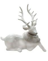 "December Diamonds 34"" White Deer w/Fur Collar Laying Down Figurine - $791.99"