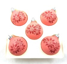 Vintage Pyramid Rauch Dark Pink Red Glitter Glass Christmas Ornaments Balls 5 - $24.64