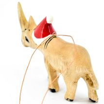 Hand Carved & Painted Jacaranda Wood Santa Hat Rhinoceros Christmas Ornament image 3