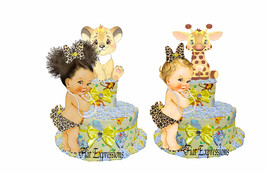Safari Girl Yellow 2 Tier Diaper Cake Lion Diaper Cake Giraffe Diaper Ca... - $55.00