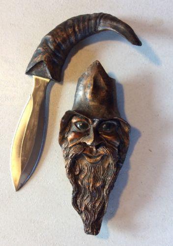 WIZARD WARLOCK Carved Dagger Ornate Antique Knife Wall Art Decor