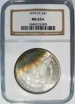 1878 CC Silver Morgan Dollar NGC MS 63 Star Rainbow Crescent Toned Tonin... - $679.99