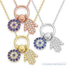 Hamsa Hand of Fatima Evil Eye Greek Mati Jewish Pendant Sterling Silver Necklace