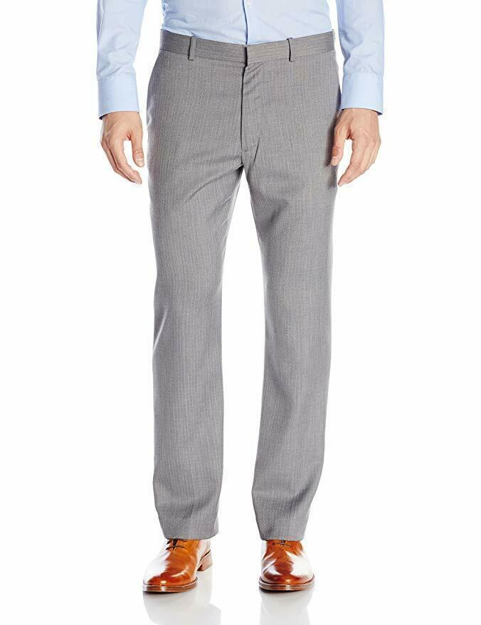 Perry Ellis Men's Herringbone Stripe Flat Front Gray Pant 40W x 32L - $31.99