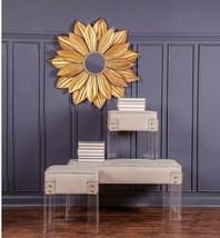 New Horchow XL Sunburst Flower Wall Mirror French Mid Century Modern Regency - $269.49