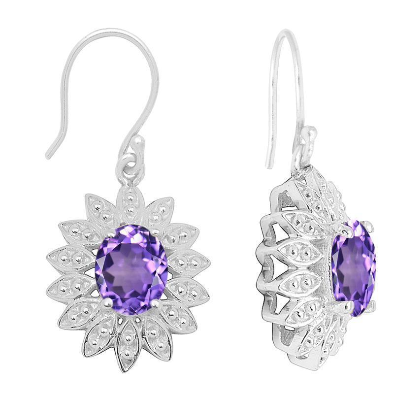 Amazing Amethyst Gemstone 925 Sterling Silver Jewelry Wedding Earring SHER1042