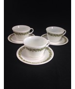 3 Corning Corelle Pyrex Spring Blossom Crazy Daisy Cups / Mugs and Saucers - $9.89