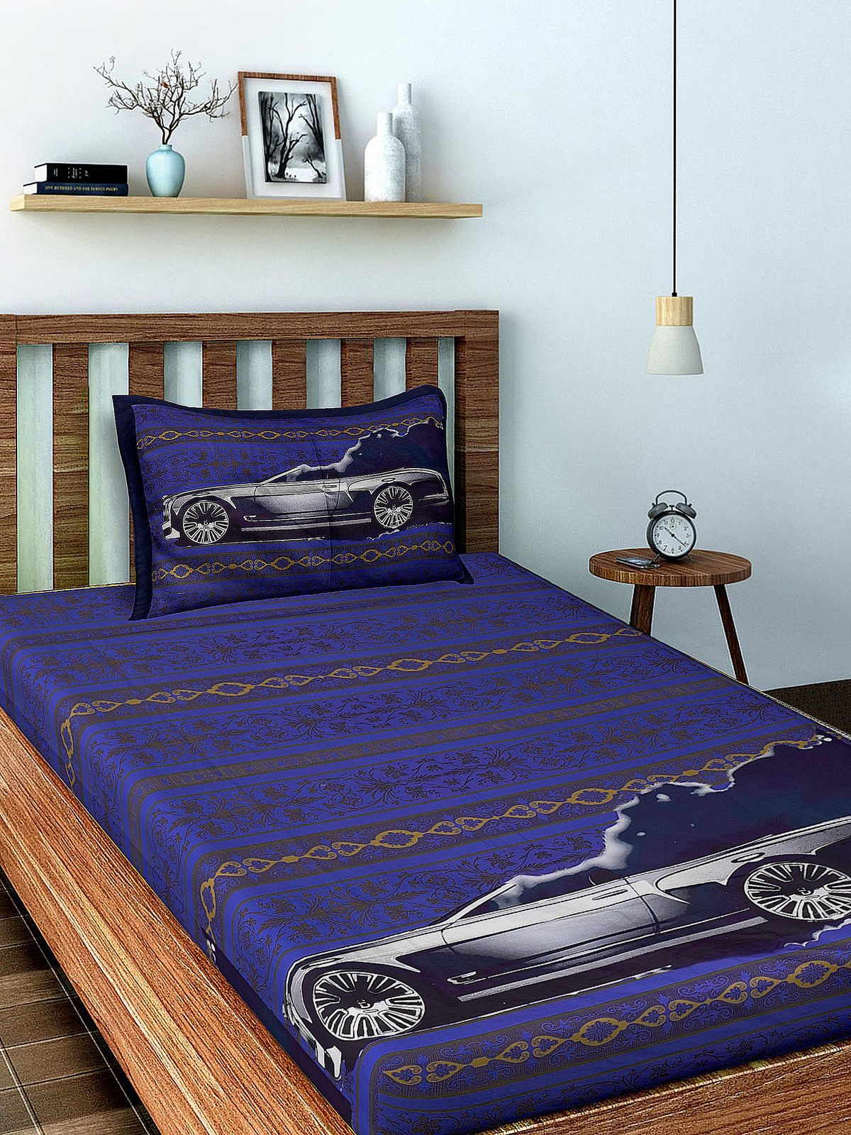 Primary image for Gray Car Cotton Single Bedsheet with 1 Pillow Cover