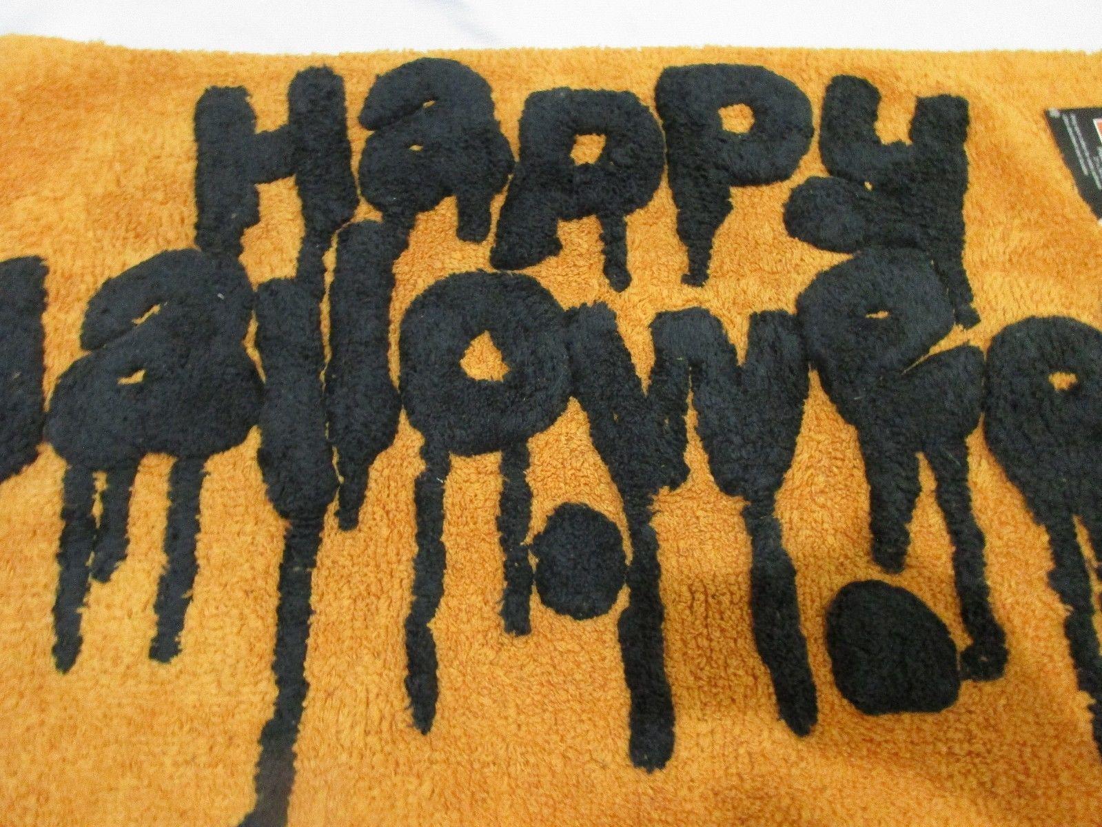 creepy happy halloween orange black bath rug kitchen throw rug 21x34 nwt