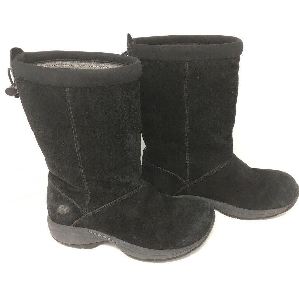 MERRELL ATMOST MID WOMEN/'S BLACK//BLUE WATERPROOF BOOTS #J324906C