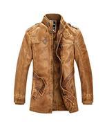 Winter New Men's Fur Leather Jacket Fashion Vintage Long PU Motorcycle J... - $186.40+