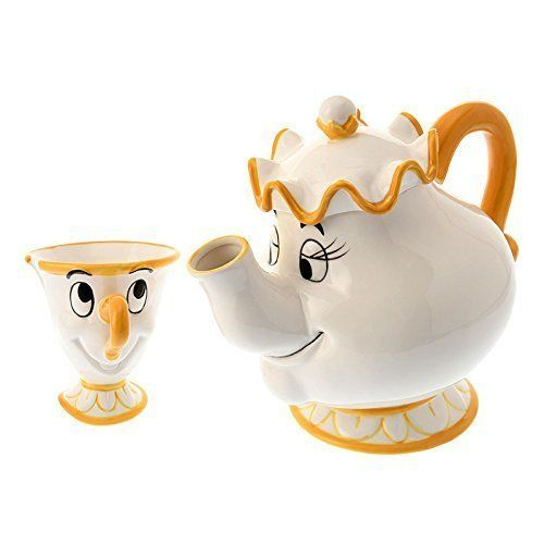 Disney Store Japan Beauty and Beast Mrs.Pot and Chip Tea cup set Be our guest FS