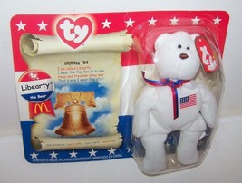 TY 1998 White Liberty The Bear Red Blue Tie w FlagMcDonalds Toy American... - $5.94