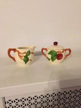 Vintage Franciscan California Pottery Apple Creamer & Sugar Bowl W Lid - $24.74