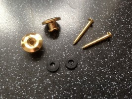 Pair of gold plated metal strap buttons with screws - $3.96