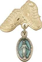 14K Gold Filled Baby Badge with Blue Miraculous Charm Pin 1 X 5/8 inch - $107.50