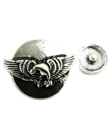 Interchangeable Button Snap Jewelry Silver Tone Flying Eagle Wings 18mm ... - $5.92