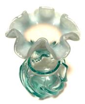 Fenton Aquamarine Vase Wave Crest Ruffle Top Aqua Art Glass Swirl 6 inch... - $23.76