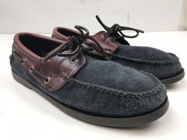 BROOKS BROTHERS Navy Suede Burgundy Leather Boat Shoes 75195026 Men's 9.5 D - $35.00