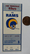 Ticket for SF 49ers at Los Angeles Rams Game, October 2, 1977 - $10.40