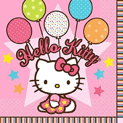 Primary image for Amscan 509303 Beverage Napkins | Hello Kitty Balloon Dreams Collection | 16 pcs