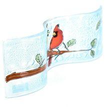 Fused Art Glass Cardinal Couple Birds Wavy Decor Sun Catcher Handmade Ecuador image 5
