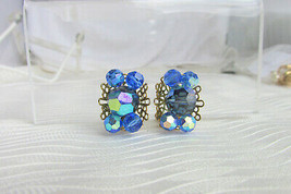 60s Vintage Freirich Sapphire Blue Crystal Cluster Clip Earrings GoldPla... - $22.50