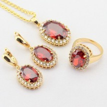 WPAITKYS Oval Red Cubic Zircon Gold Color Jewelry Sets For Women Drop Ea... - $28.93