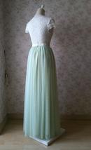 LIGHT GREEN Full Length Maxi Tulle Skirt Green Wedding Bridesmaid Tulle Skirts image 6