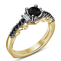 Solitaire With Accents Ring Round Cut Black Diamond 14k Gold Plated 925 ... - $79.28