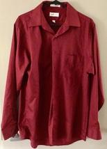 VAN HEUSEN mens red dress button up shirt L LARGE Sateen 16 34/35 straig... - $14.50