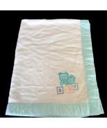 Vintage Cuddle Time Acrylic Fleece Baby Blanket Bear Blocks Mint Edge US... - $29.69